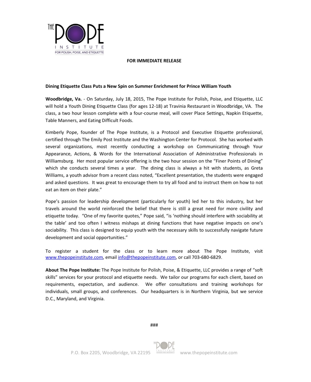 Press Release May 2015